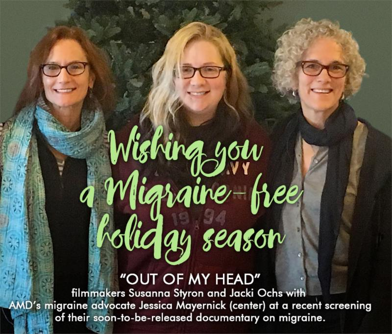 Filmmakers Susanna Styron and Jacki Ochs with migraine advocate Jessica Mayernick (center)