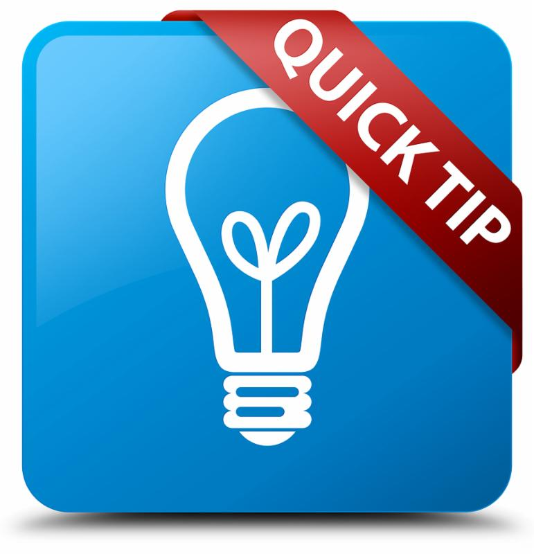 Quick tip  bulb icon  isolated on cyan blue square button with red ribbon in corner abstract illustration