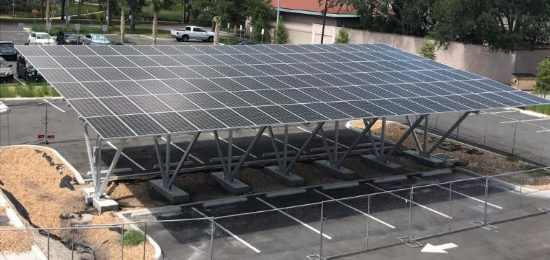 This 40kw solar array carport on campus will power 15 percent of the new Poynter Warehouse Labs. Photo by Brian Pullen.