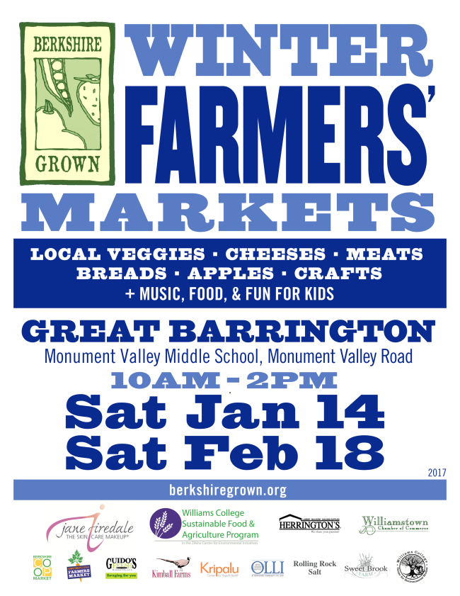 Winter Farmers Markets in Great Barrinton January 14 and February 18_ 10am-2pm at Monument Valley Middle School