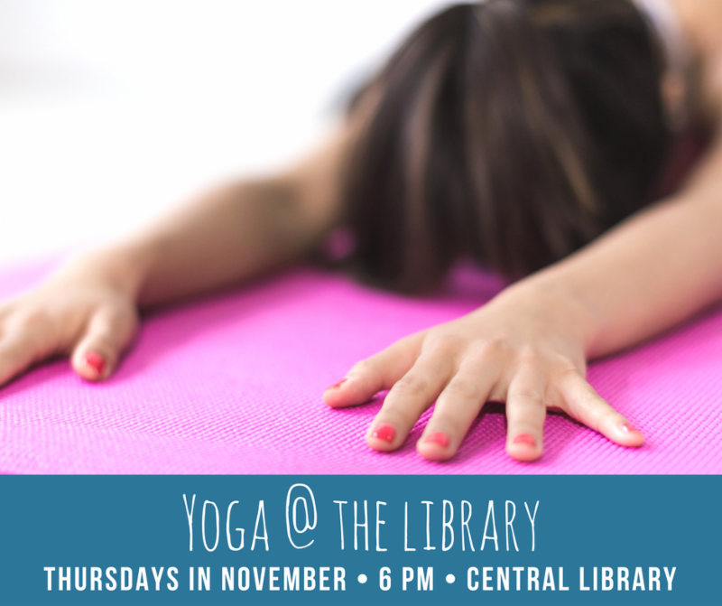 Yoga at the Library sign