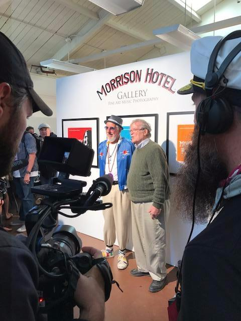 Monterey Pop Festival creator Lou Adler and Monterey Pop filmmaker D.A. Pennebaker at the Morrison Hotel Gallery PopUp gallery at 50th anniversary celebration