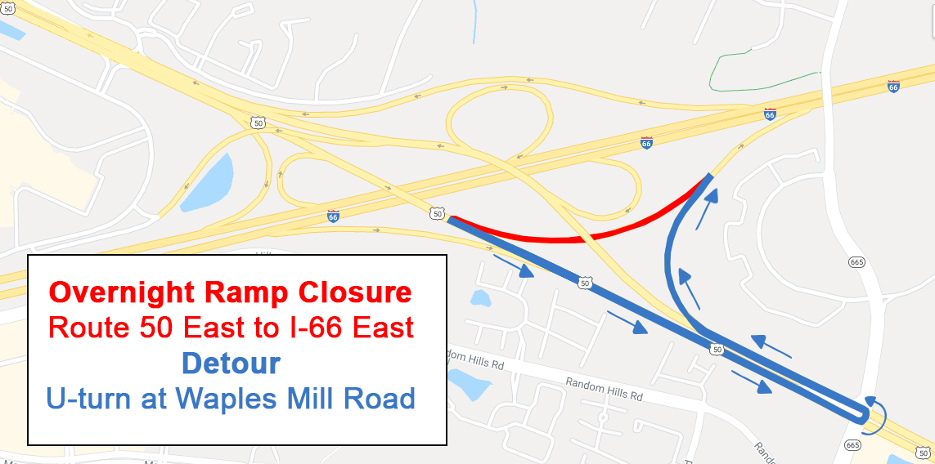 Rt 50 E to I-66 E Ramp Will Close Nightly, Dec. 14-18