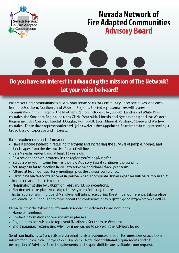 We are seeking nominations to fill The Network Advisory Board seats for Community Representatives, for Southern, Northern, and Western regions.  Send nominations to Sonya Sistare at sistares@unce.unr.edu.  For questions, call Sonya at 775-887-2252.