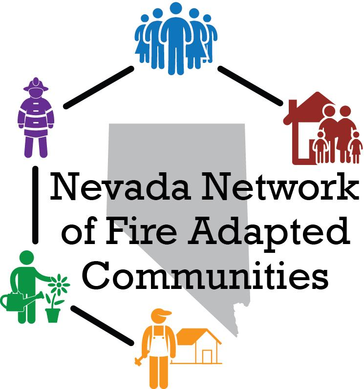 Nevada Network of Fire Adapted Communities logo. (Gray State of Nevada shape surrounded by icons of fire adapted community members.)