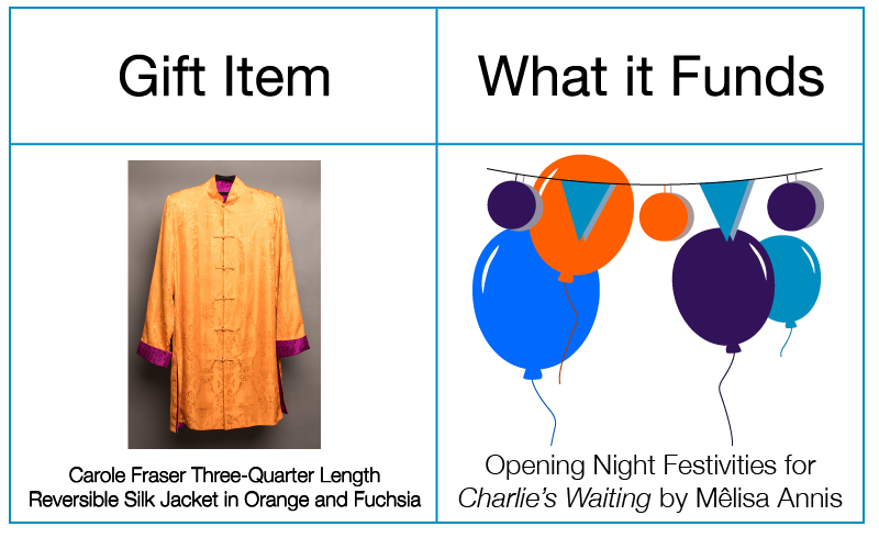Carole Fraser orange and fuchsia jacket helps fund opening night festivities for Charlie's Waiting by Melisa Annis