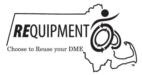 """REquipment logo, with the text """"Choose to reuse your DME"""""""