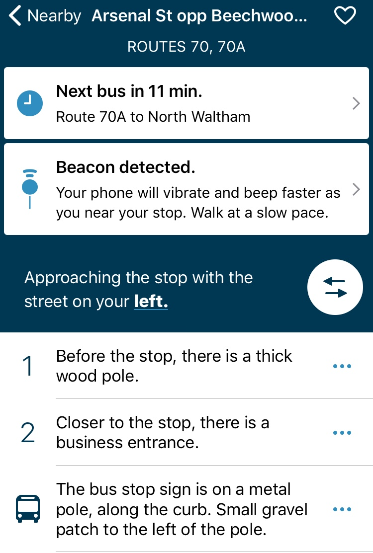 Screenshot of the Perkins Blindways smart phone app
