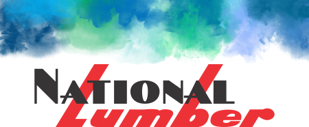 National Lumber logo with blue paint top border