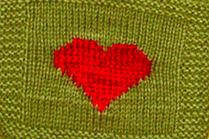 Knit Heart green olive red