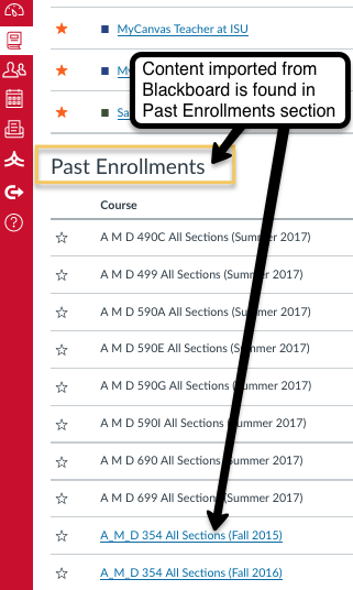 Blackboard course materials are found under the Past Enrollments header