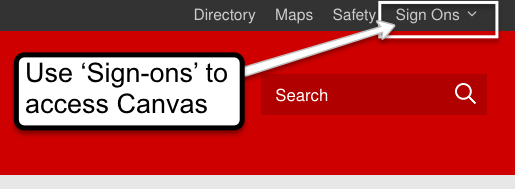 Use the sign-ons link to access Canvas