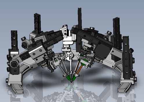 IMAGE - FIVE M3-LS XYZ SMART STAGE ASSEMBLIES AND FIVE ADJUSTABLE PROBE ARMS