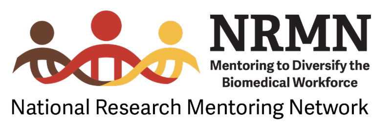 NRMN logo depicting three stylized stick figures side-by-side in brown_ red_ and yellow _respectively__ with DNA helix forming interlocking arms. The words _NRMN_ Mentoring to Diversify the Biomedical Workforce_ appear to the right of the image with _National Research Mentoring Network_ below.