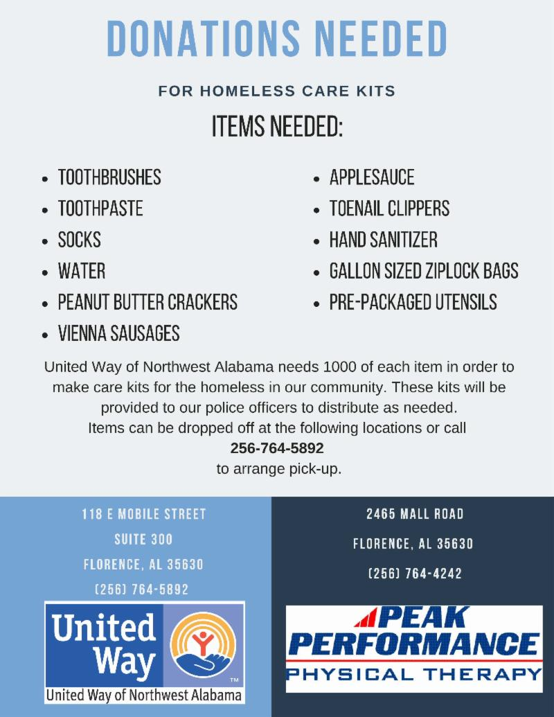 38d10c2f3dd United Way of Northwest Alabama will take to Mobile Street to Kickoff our  Annual Campaign! We will be putting together caring kits for our homeless  ...