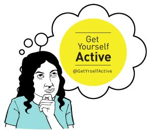 Get Yourself Active logo _woman thinking_
