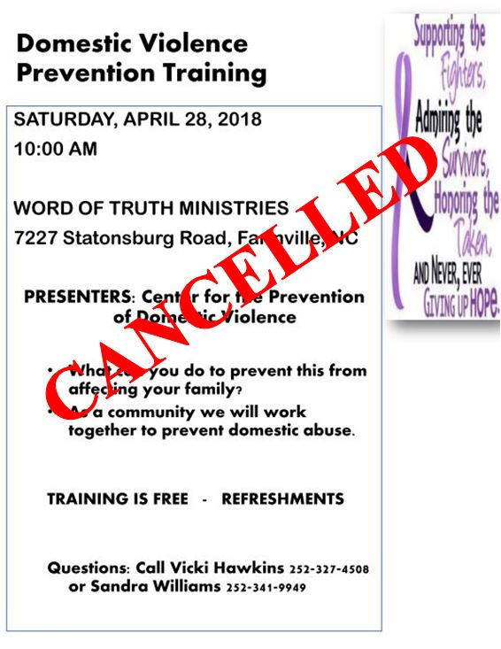 Domestic Violence Prevention Training Has Been Cancelled