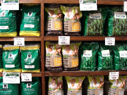 Bags of grass seed specially blended for mid-Missouri available at Hillermann Nursery and Florist