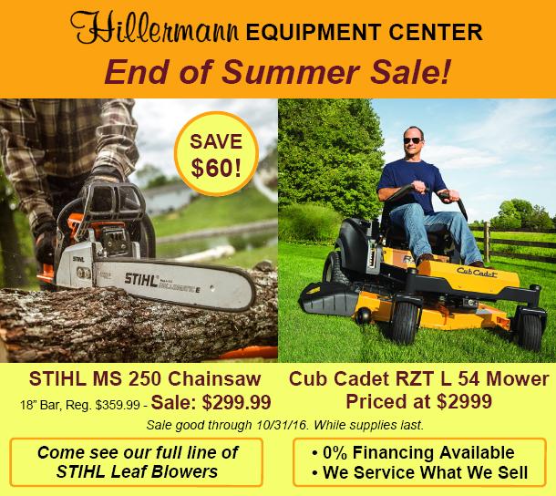Hillermann Equipment Center End of Summer Sale Graphic
