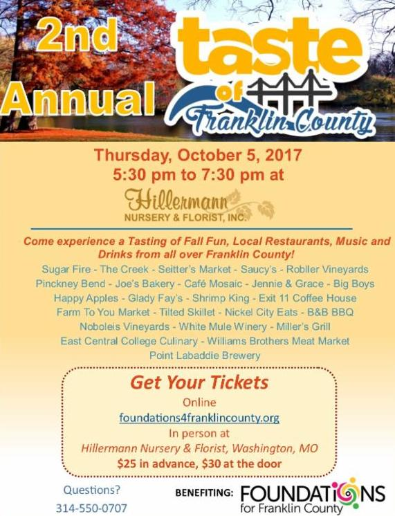 2nd Annual Taste of Franklin County flyer