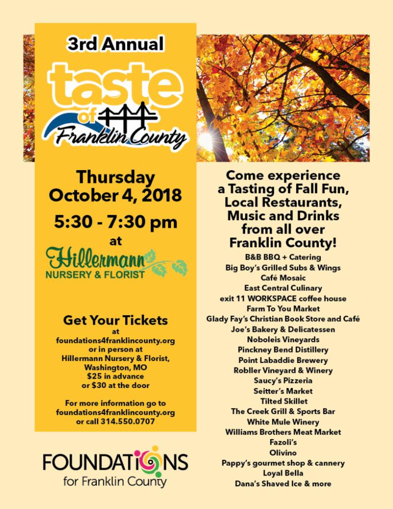 Taste of Franklin County Event by Foundations for Franklin County at Hillermann Nursery and Florist on 10-4-18