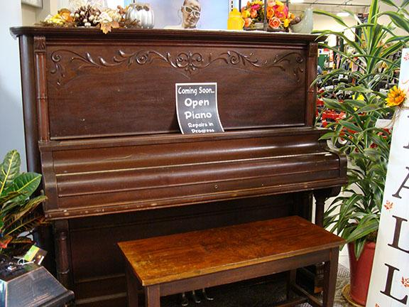 Piano in the Garden Center at Hillermann Nursery and Florist