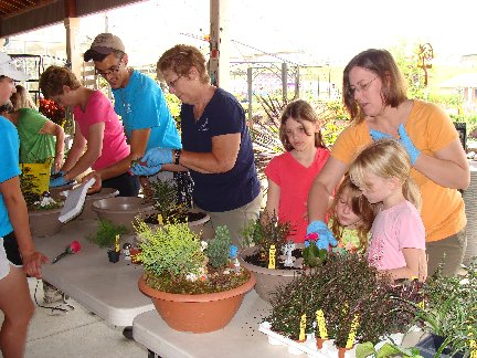 Workshop students making mini gardens at Hillermann Nursery and Florist