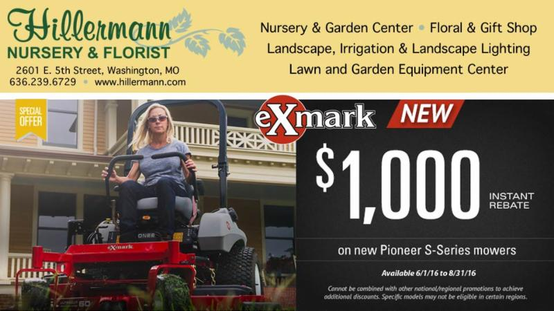 Picture and Graphic with Hillermann Nursery and Florist logo and company information and Exmark mower special offer