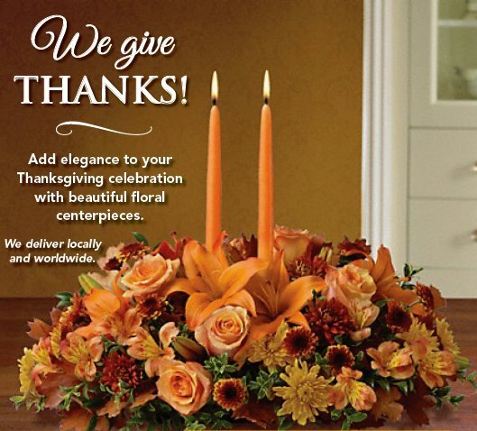 We Give Thanks - Thanksgiving floral arrangement photo and test ad graphic