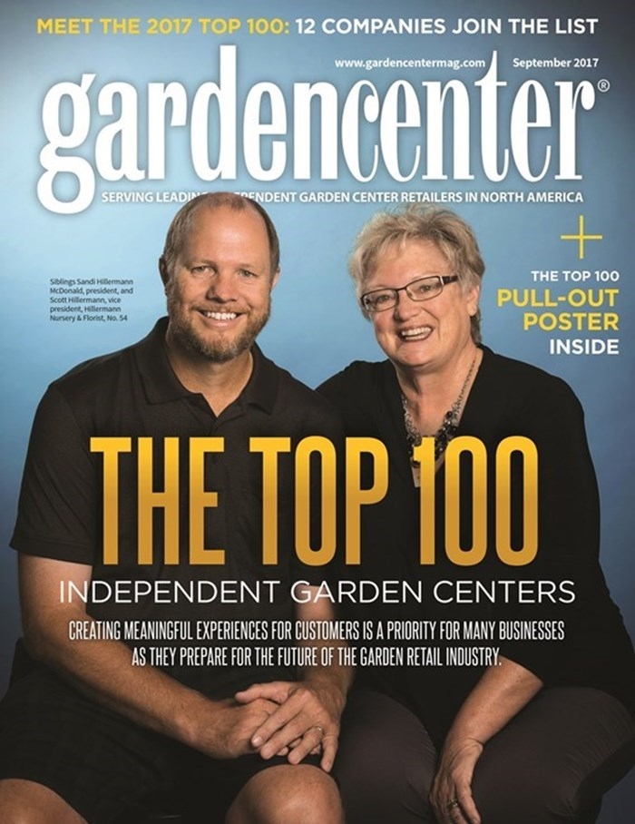 The cover photo for the September 2017 issue of Gardencenter Magazine featuring Sandi Hillermann McDonald and Scott Hillermann of Hillermann Nursery and Florist