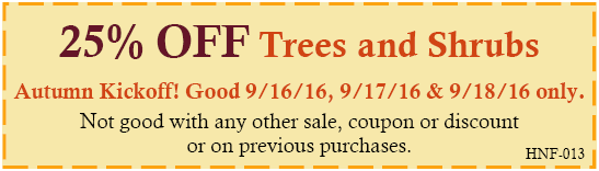 Autumn Project Kick-Off Coupon - good on 9-16-16, 9-17-16 and 9-18-16 only
