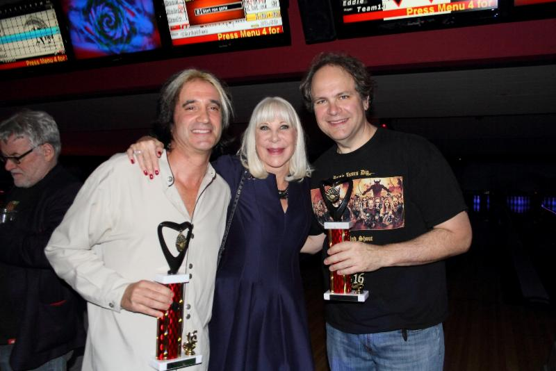 Marc Ferrari, Wendy Dio and Eddie Trunk with their winning trophies (Photo by Gene Kirkland)
