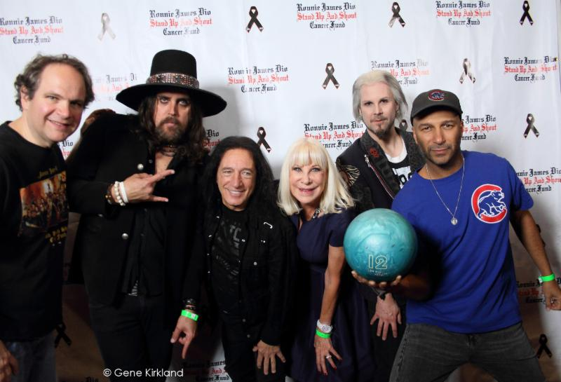 Eddie Trunk's team + Damon Fox join Wendy Dio on the red carpet as they prepare to do battle on the lanes. From left: Eddie Trunk, Damon Fox, Rock Feinstein,Wendy Dio, John 5 and Tom Morello (who brought his own bowling ball). Not pictured: Jeff Scott Soto, Tim