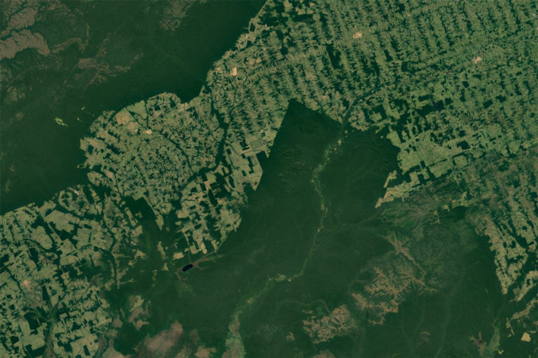 NASA _ Google Earth satellite image showing deforestation in the Brazilian Amazon_ S_o Miguel do Guapor_ _ State of Rond_nia.