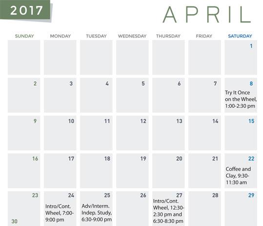 Spring class calendar