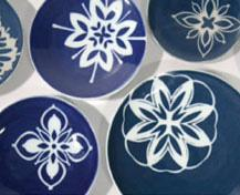 Snowflake plates by Nancy Bulkley