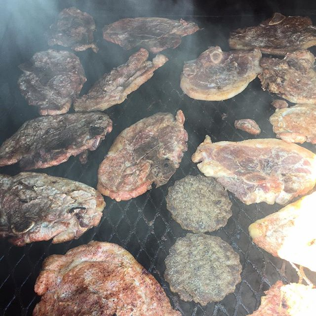 Over 300 pounds of sausage, pork chops, hamburgers, and hot dogs are grilling now in preparation for our 28th Annual Thanksgiving Fall Fest Cookout! We are also preparing 75 pounds of potato salad and many gallons of baked beans, along with a special dess