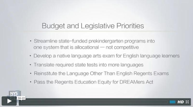 Commissioner Elia discusses the 2017 state aid request and budget and legislative priorities - video screen shot