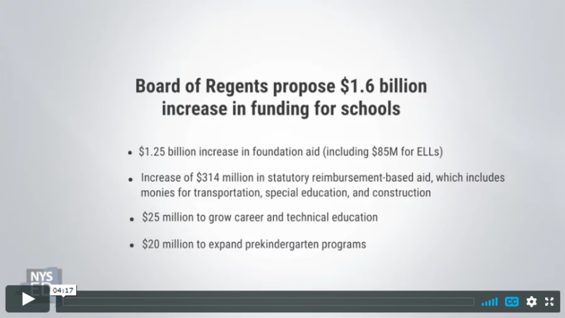 Cover slide of Commissioner Elia_s video remarks on the 2018 budget