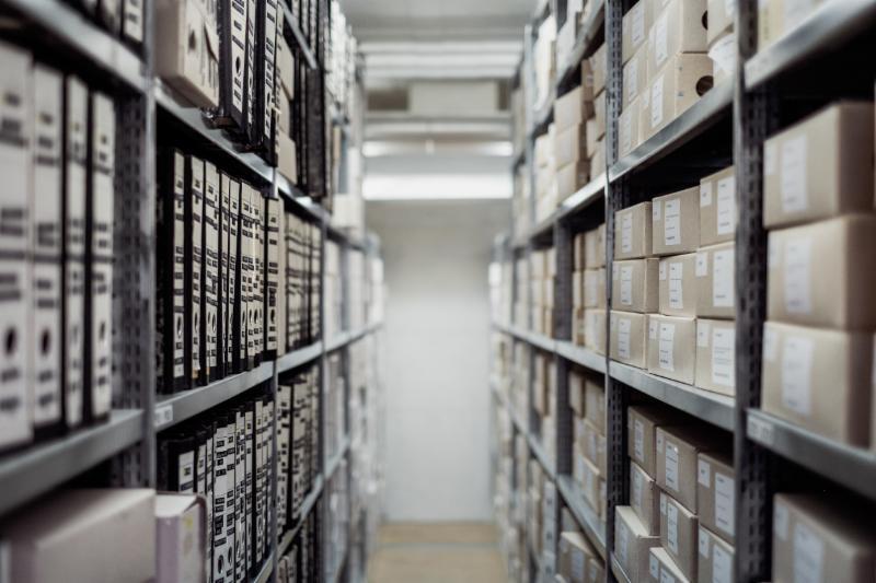 shelves of stored documents