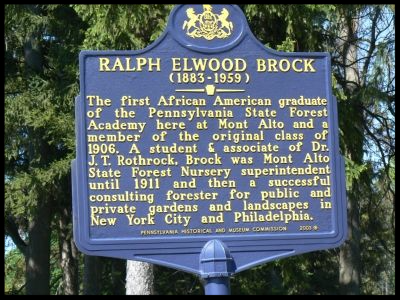 The Ralph E. Brock historical marker located at Mont Alto.