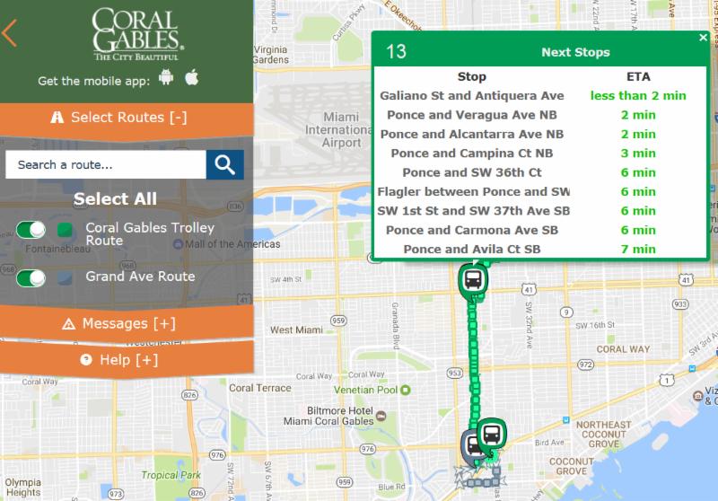 mapa del trolley en ruta