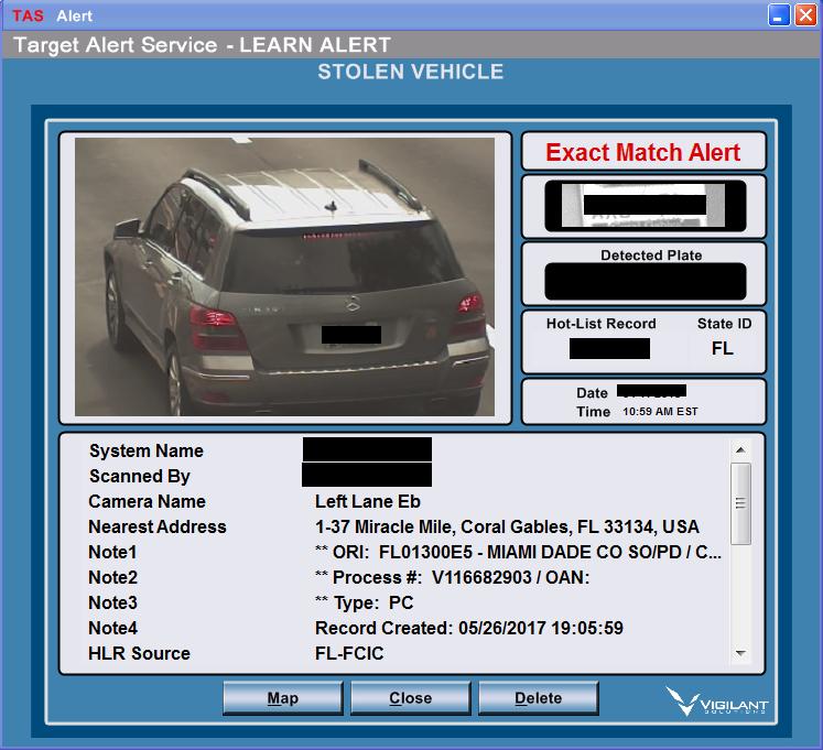Stolen vehicle tag