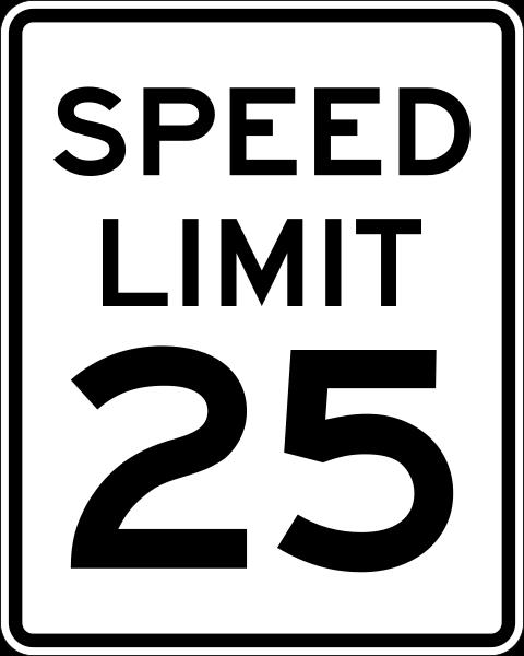 speed limit 25 mph