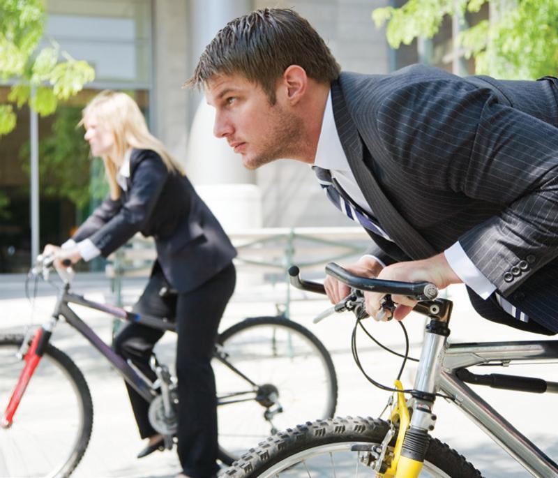 al trabajo en bicicleta