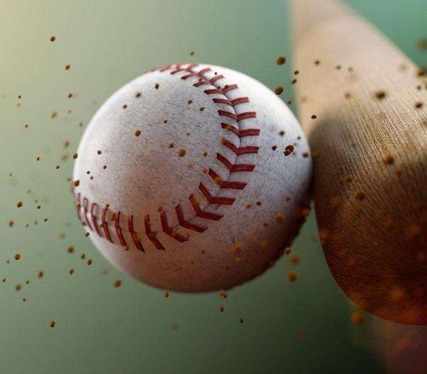 baseball striking bat
