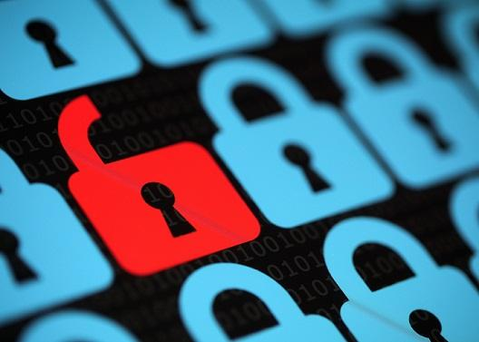 cybersecurity locks on computer screen