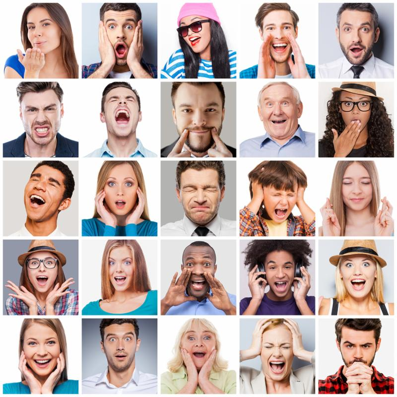 Collage of diverse multi-ethnic and mixed age range people expressing different emotions