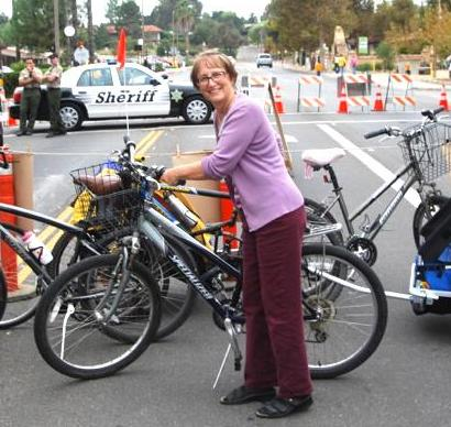 Loren Walters parks bikes at Ojai Day