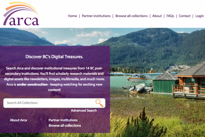 Screenshot of Arca Home Page